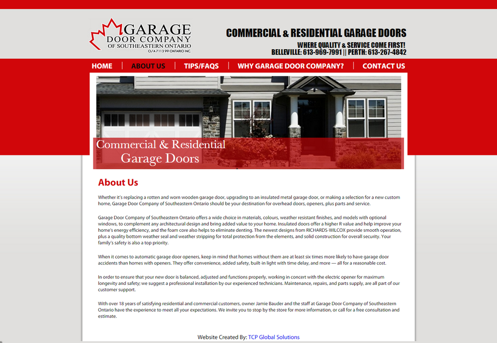Tcp global solutions website development and internet for Franchise ad garage